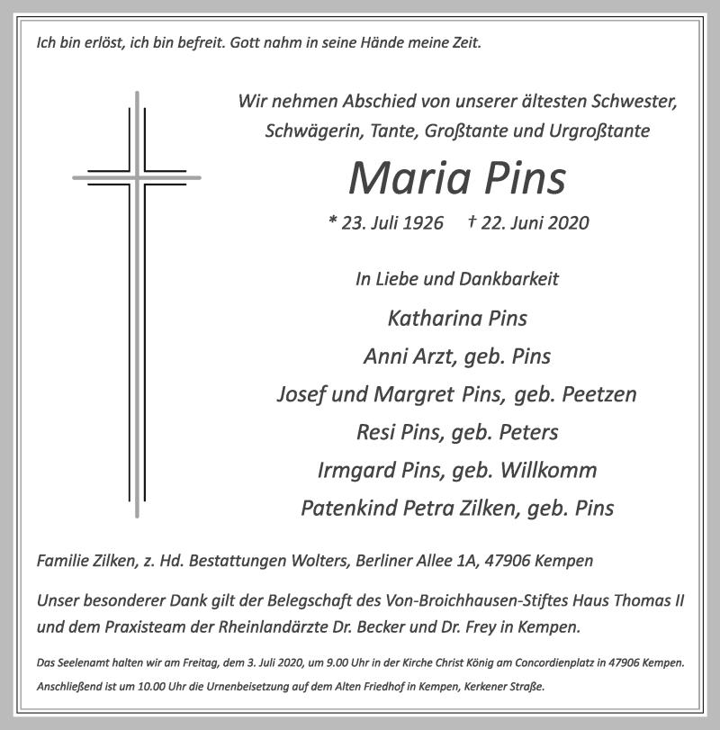 Traueranzeige für Maria Pins vom 27.06.2020 aus Rheinische Post