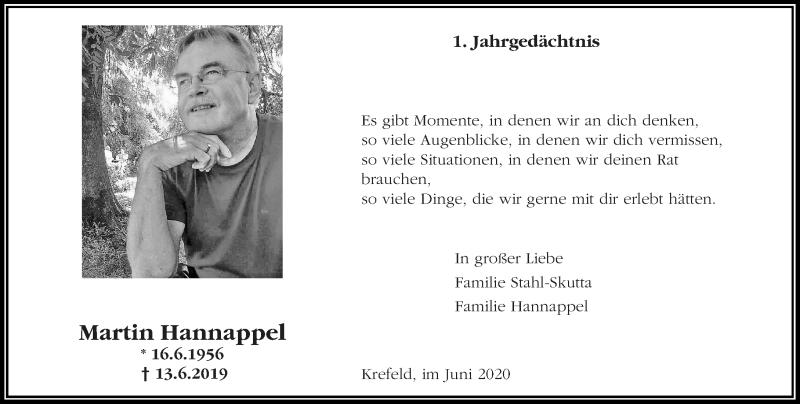 Traueranzeige für Martin Hannappel vom 13.06.2020 aus Rheinische Post