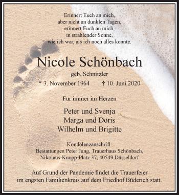 Traueranzeige von Nicole Schönbach von Rheinische Post