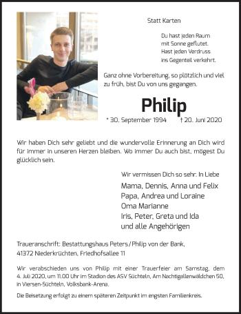 Traueranzeige von Philip von der Bank von Rheinische Post