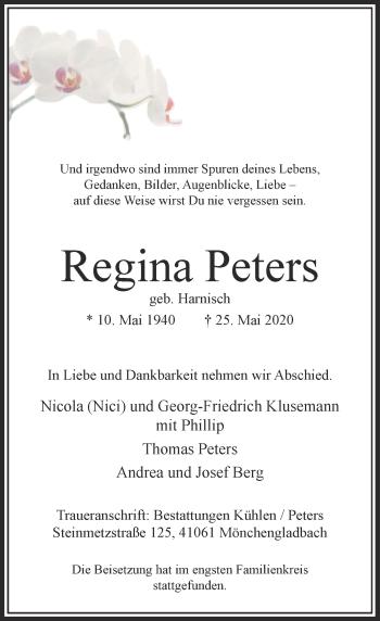 Traueranzeige von Regina Peters von Rheinische Post
