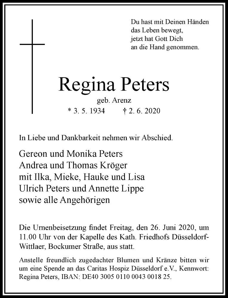 Anzeige von  Regina Peters