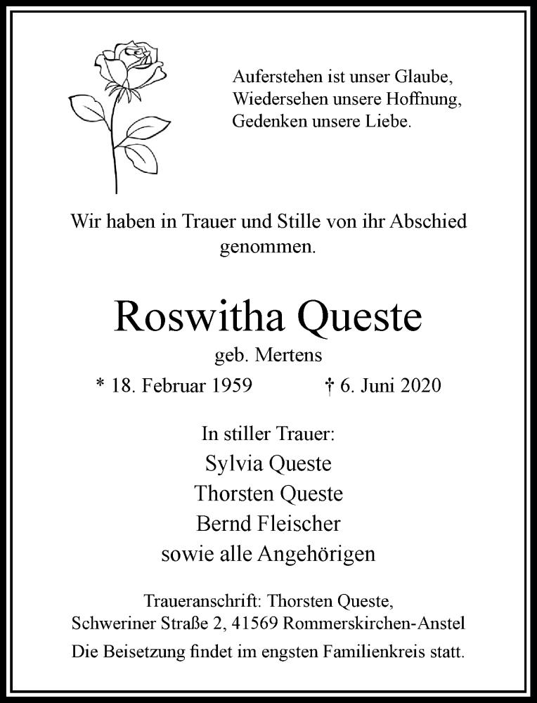 Traueranzeige für Roswitha Queste vom 10.06.2020 aus Rheinische Post