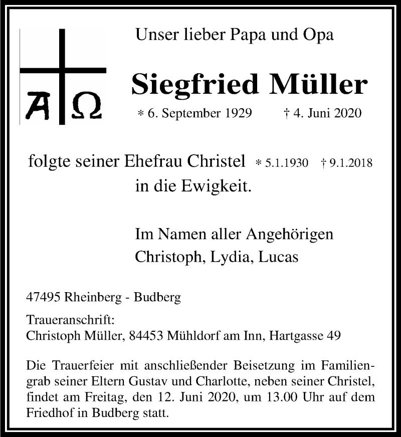 Anzeige von  Siegfried Müller