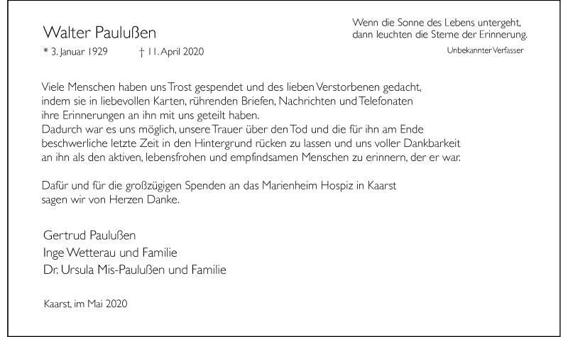 Traueranzeige für Walter Paulußen vom 06.06.2020 aus Rheinische Post