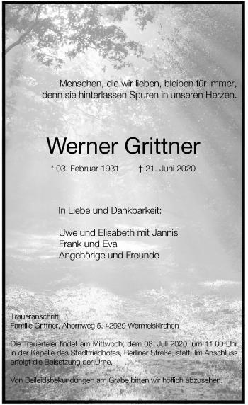 Traueranzeige von Werner Grittner von Rheinische Post