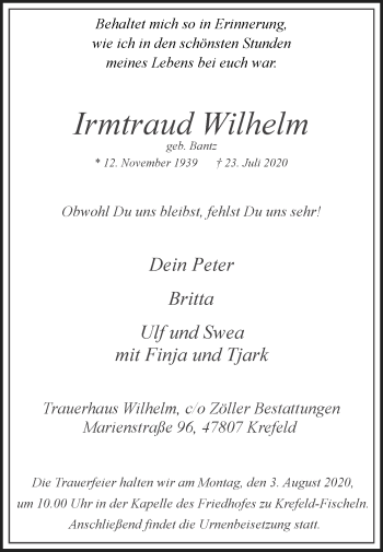 Traueranzeige von Irmtraud Wilhelm von Rheinische Post