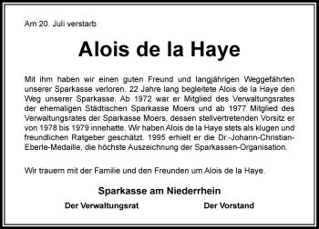 Traueranzeige von Alois de la Haye von Rheinische Post