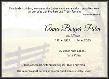 Traueranzeige von Anna Berger-Palm von Rheinische Post
