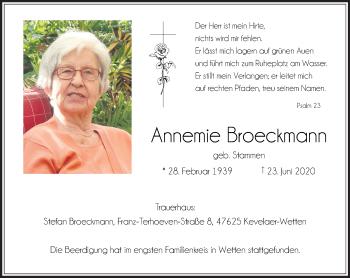 Traueranzeige von Annemie Broeckmann von Rheinische Post