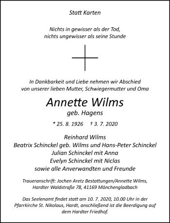 Traueranzeige von Annette Wilms von Rheinische Post