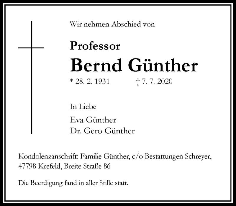 Anzeige von  Bernd Günther