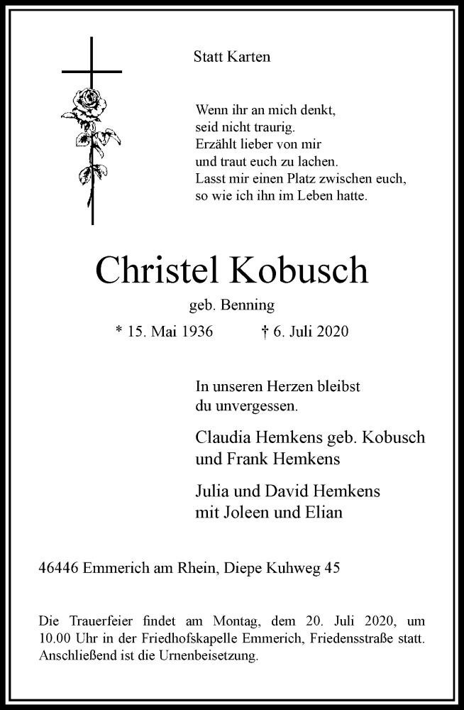 Traueranzeige für Christel Kobusch vom 11.07.2020 aus Rheinische Post