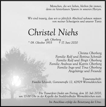 Traueranzeige von Christel Niehs von Rheinische Post