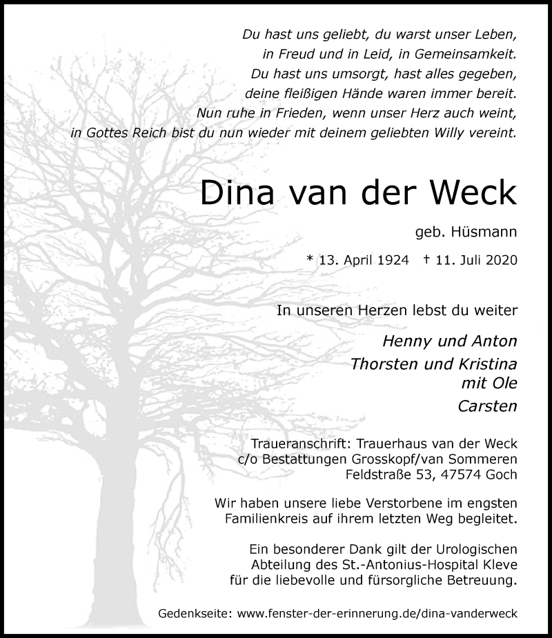 Traueranzeige für Dina van der Weck vom 18.07.2020 aus Rheinische Post