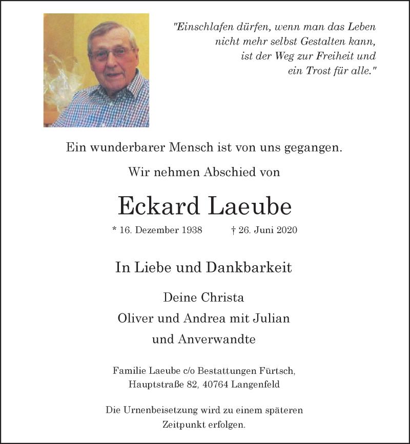 Traueranzeige für Eckard Laeube vom 04.07.2020 aus Rheinische Post