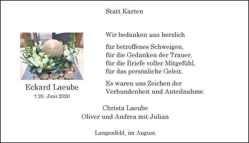 Traueranzeige für Eckard Laeube vom 01.08.2020 aus Rheinische Post