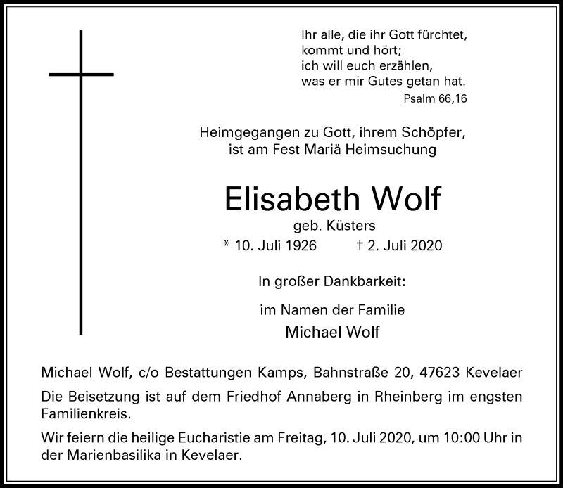 Traueranzeige für Elisabeth Wolf vom 07.07.2020 aus Rheinische Post