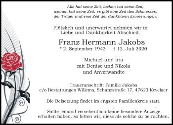 Traueranzeige von Franz Hermann Jakobs von Rheinische Post