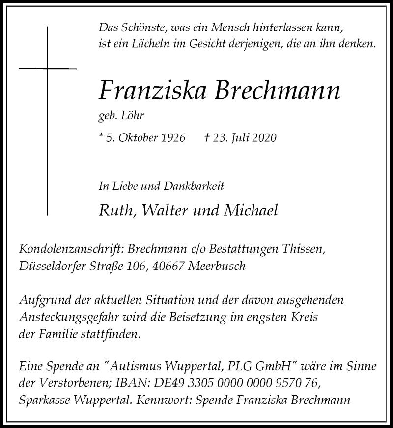 Traueranzeige für Franziska Brechmann vom 01.08.2020 aus Rheinische Post