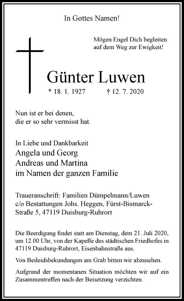 Traueranzeige für Günter Luwen vom 17.07.2020 aus Rheinische Post
