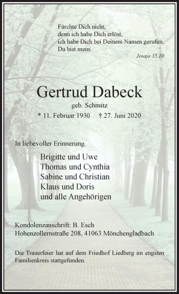Traueranzeige von Gertrud Dabeck von Rheinische Post