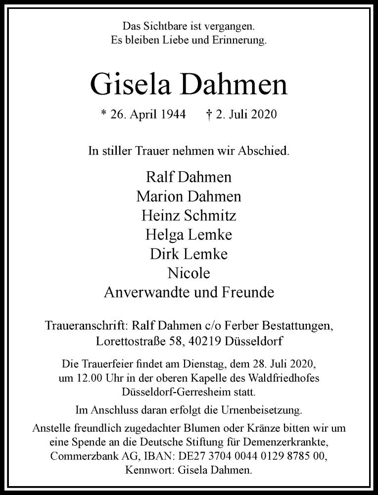 Traueranzeige für Gisela Dahmen vom 25.07.2020 aus Rheinische Post