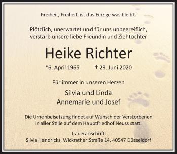 Traueranzeige von Heike Richter von Rheinische Post