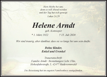 Traueranzeige von Helene Arndt von Rheinische Post