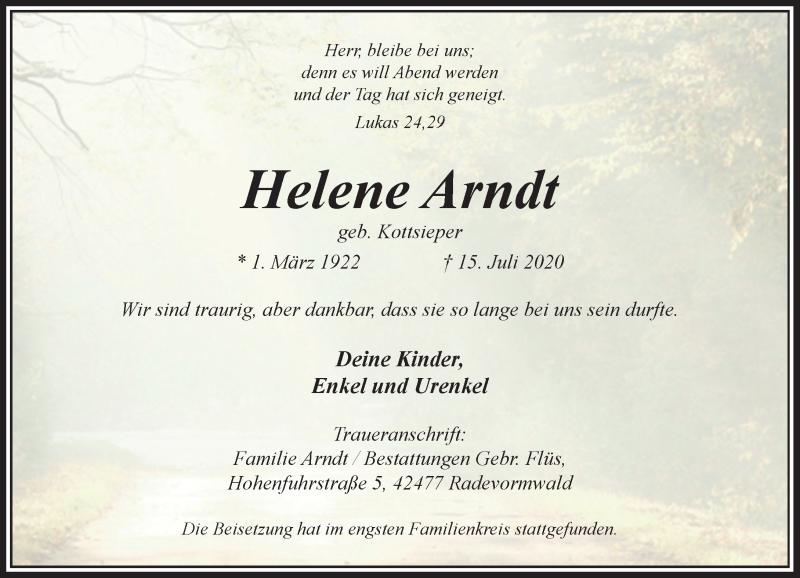 Traueranzeige für Helene Arndt vom 25.07.2020 aus Rheinische Post