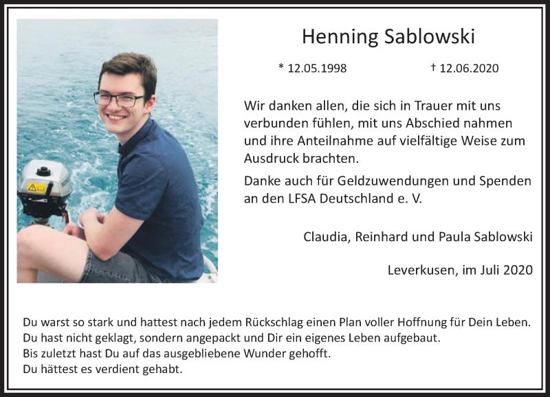 Traueranzeige für Henning Sablowski vom 04.07.2020 aus Rheinische Post