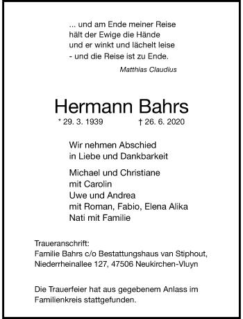 Traueranzeige von Hermann Bahrs von Rheinische Post