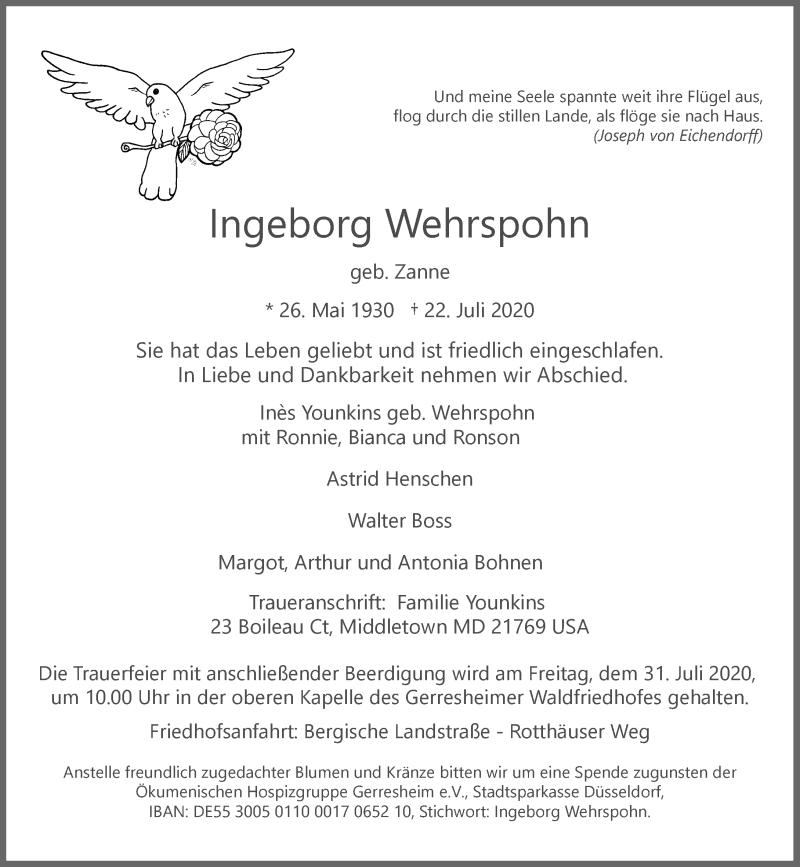 Traueranzeige für Ingeborg Wehrspohn vom 29.07.2020 aus Rheinische Post