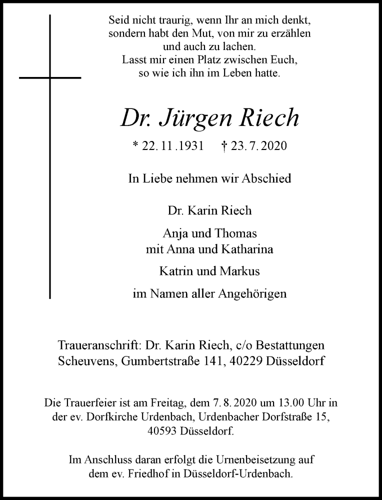 Traueranzeige für Jürgen Riech vom 01.08.2020 aus Rheinische Post
