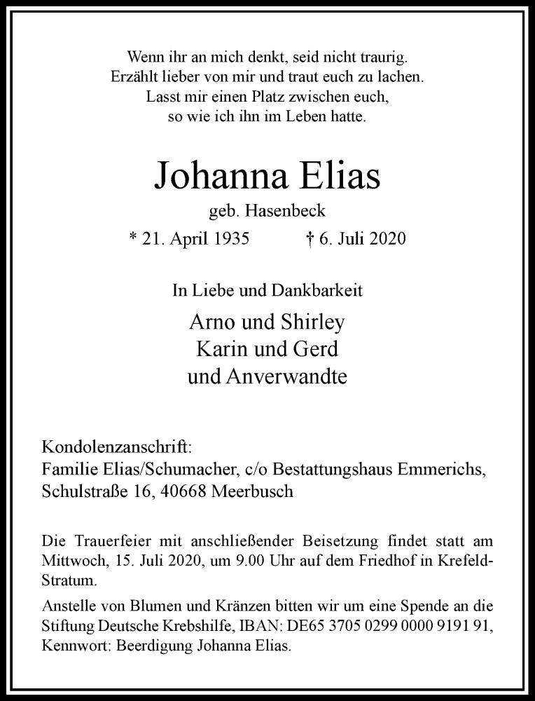 Traueranzeige für Johanna Elias vom 11.07.2020 aus Rheinische Post
