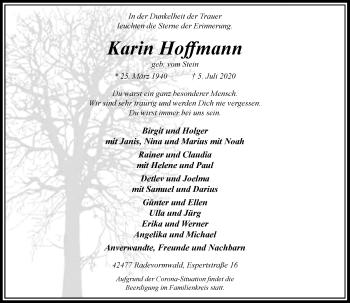 Traueranzeige von Karin Hoffmann von Rheinische Post