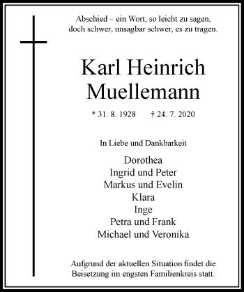 Traueranzeige von Karl Heinrich Muellemann von Rheinische Post
