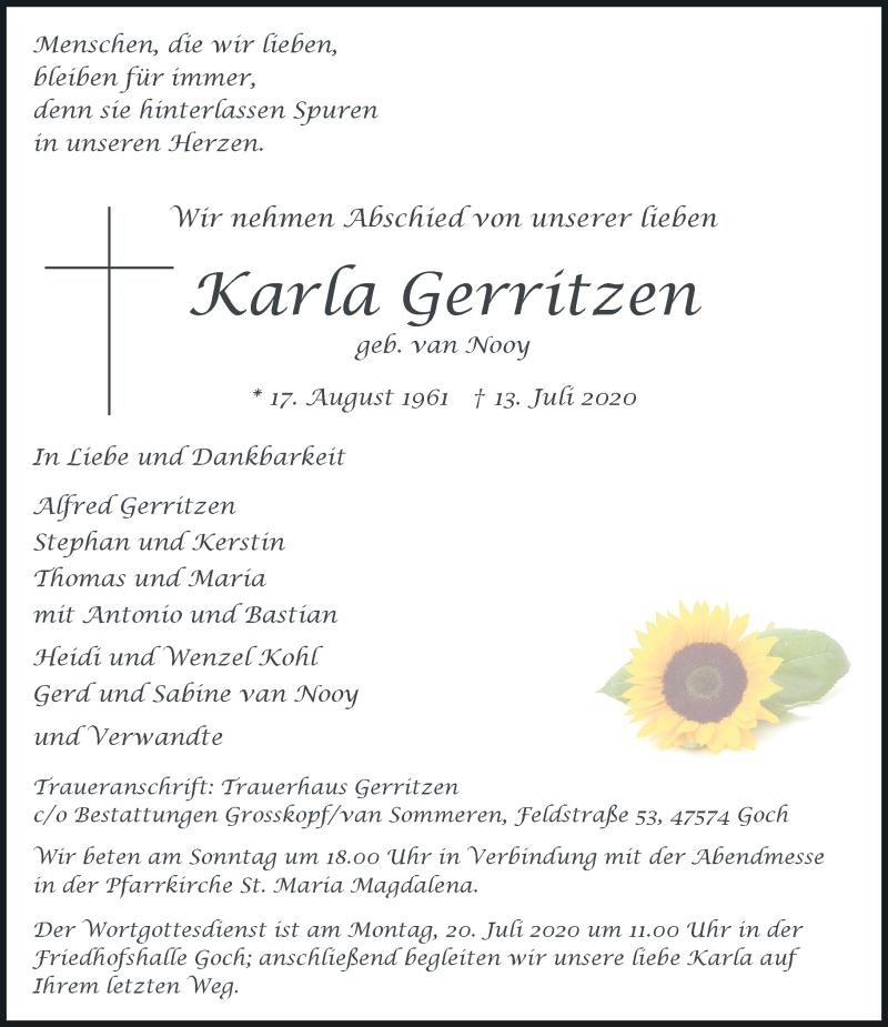 Traueranzeige für Karla Gerritzen vom 17.07.2020 aus Rheinische Post