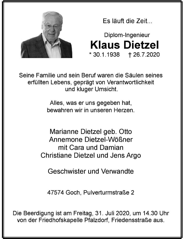Traueranzeige für Klaus Dietzel vom 29.07.2020 aus Rheinische Post