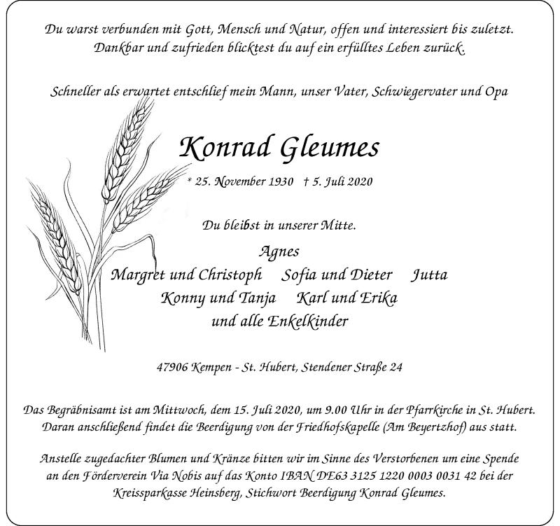 Traueranzeige für Konrad Gleumes vom 11.07.2020 aus Rheinische Post