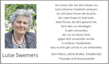 Traueranzeige von Luise Swemers von Rheinische Post