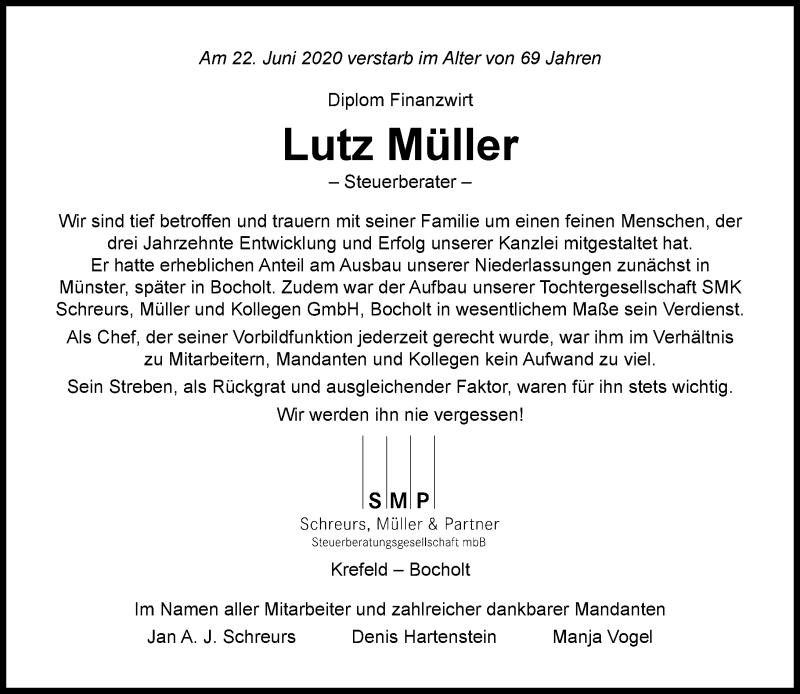 Traueranzeige für Lutz Müller vom 04.07.2020 aus Rheinische Post