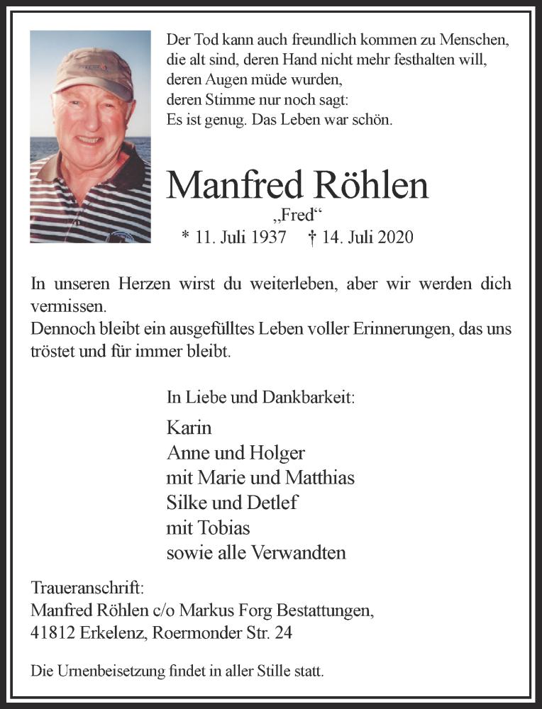 Traueranzeige für Manfred Röhlen vom 18.07.2020 aus Rheinische Post