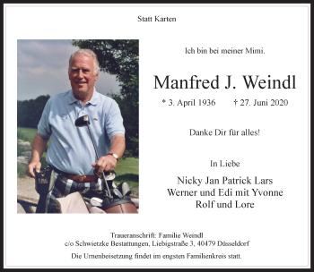 Traueranzeige von Manfred J. Weindl von Rheinische Post