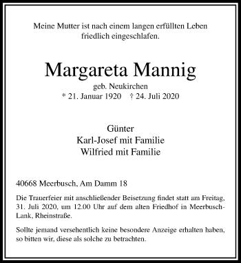 Traueranzeige von Margareta Mannig von Rheinische Post