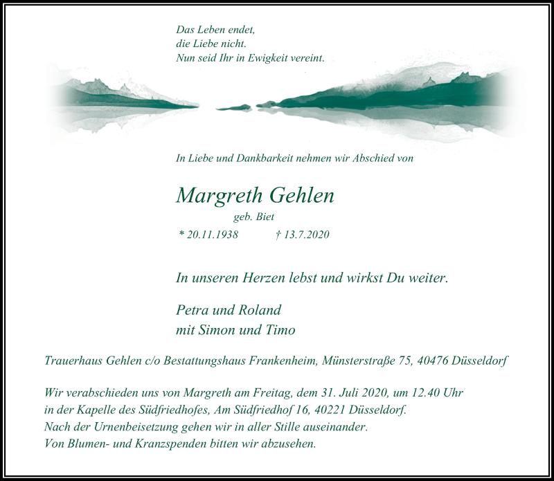 Traueranzeige für Margreth Gehlen vom 25.07.2020 aus Rheinische Post