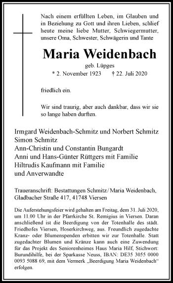 Traueranzeige von Maria Weidenbach von Rheinische Post