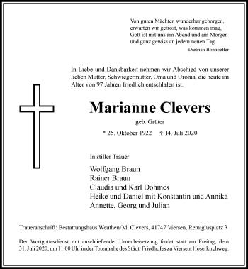 Traueranzeige von Marianne Clevers von Rheinische Post