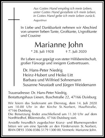 Traueranzeige von Marianne John von Rheinische Post