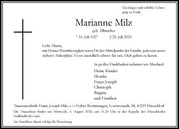 Traueranzeige von Marianne Milz von Rheinische Post